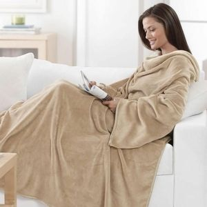Brookstone nap blanket with arms tan soft sleeves